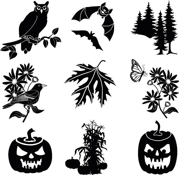 halloween vector icons in black and white - great horned owl stock illustrations, clip art, cartoons, & icons