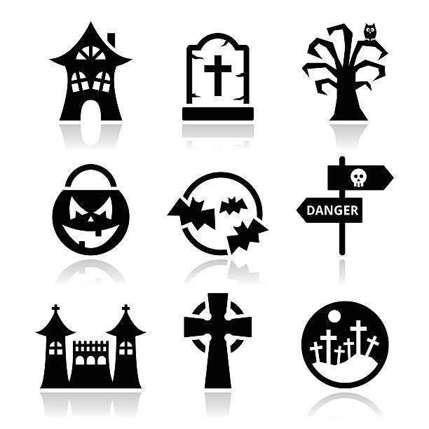 Halloween vector icons set Icons set for celebrating Halloween isolated on white  spooky halloween town stock illustrations