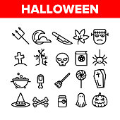 Collection Different Halloween Icons Set Vector Thin Line. Pumpkin And Skull, Hat And Broomstick, Zombie And Ghost Halloween Element Assortment Decoration Linear Pictograms. Contour Illustrations