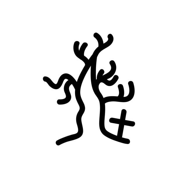 halloween [преобразованный] dry tree and cross vector icon. A thin line sign. Isolated contour symbol illustration lateral surface stock illustrations