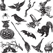 Vector drawing of a symbols of Halloween.