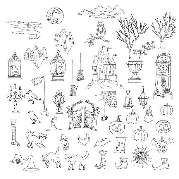 illustrations, cliparts, dessins animés et icônes de halloween - cage animal nuit