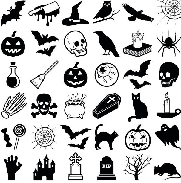 Halloween Halloween icon collection - vector illustration ghost icon stock illustrations