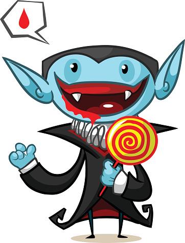 Halloween vector illustration of cartoon vampire with lollypop