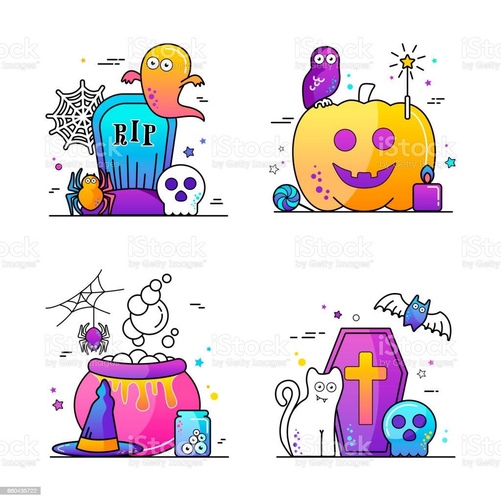 Halloween vector illustration Poster set vector art illustration