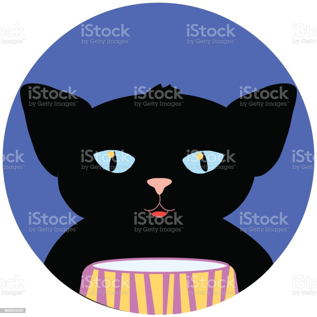 Halloween vector illustration with cat. White paw kitten in round blue background with moon and stars. royalty-free halloween vector illustration with cat white paw kitten in round blue background with moon and stars stock vector art & more images of animal