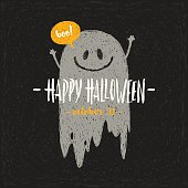 Halloween vector illustration with hand drawn ghost and greeting.