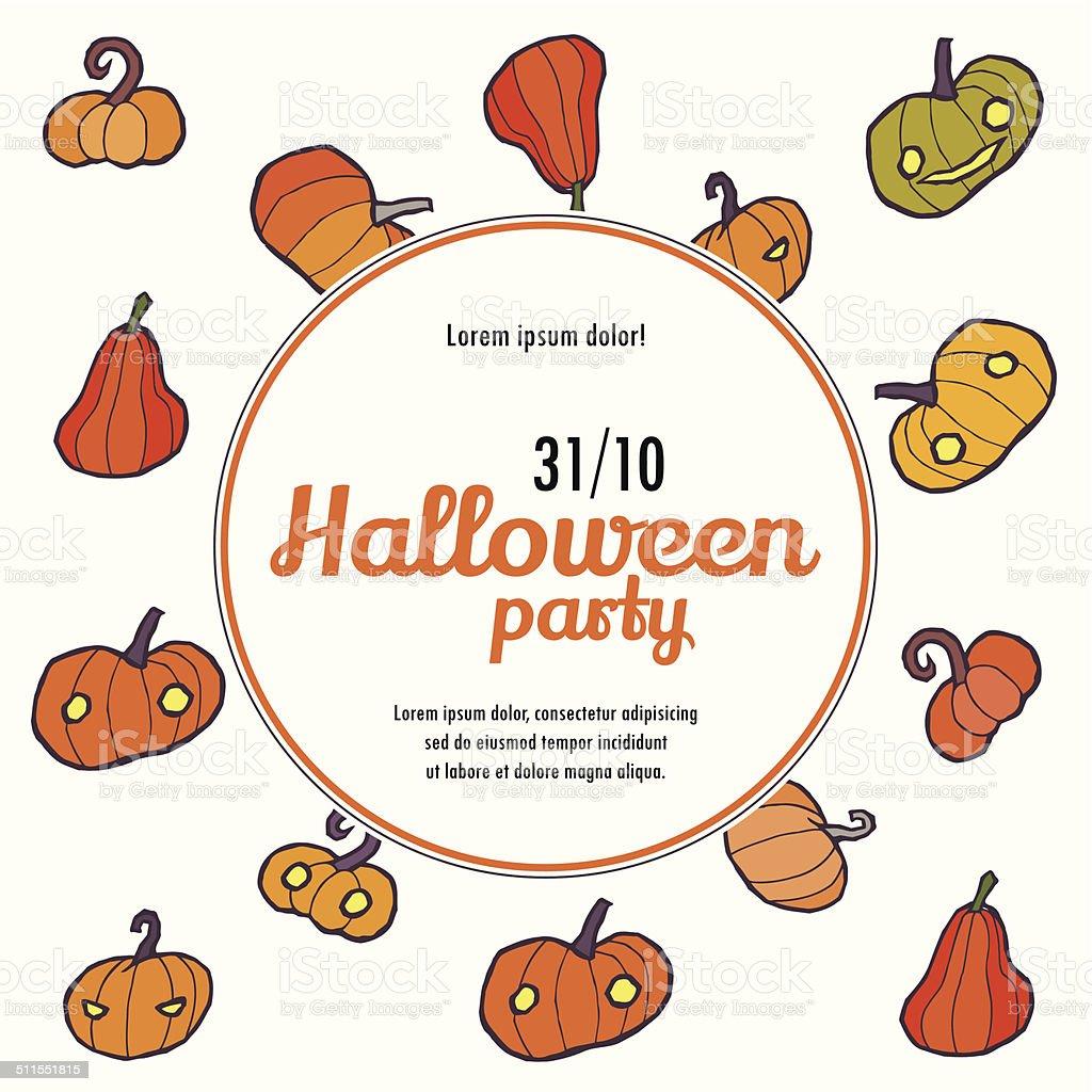 Halloween Wektor Zaproszenie Wzór Z Dyni Stockowe Grafiki