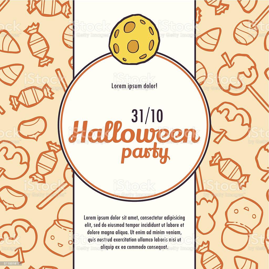 Halloween Wektor Zaproszenie Wzór Z Cukierków Stockowa Ilustracja