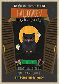 Halloween vector invitation with owl cartoon character.