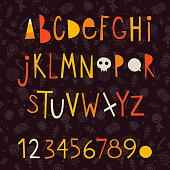 Set of colorful cartoonish vector letters and numbers for creating Halloween posters, cards and invitations. Includes seamless pattern made from white silhouettes of sweets and candies.
