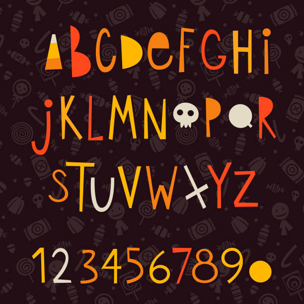 halloween vector letters - halloween candy stock illustrations
