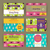 Halloween Party Invitation Template Set. Flat Design Vector Illustration of Brand Identity for Halloween Promotion. Trick or Treat Colorful Pattern for Advertising