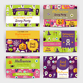 Halloween Vector Party Template Invitation Modern Flat Set