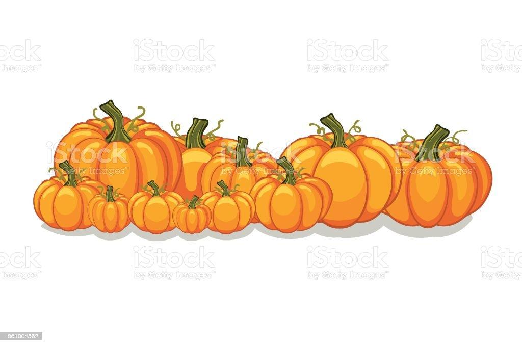 Halloween Vector Pumpkins Horizontal Banner Stock Illustration - Download Image Now - iStock