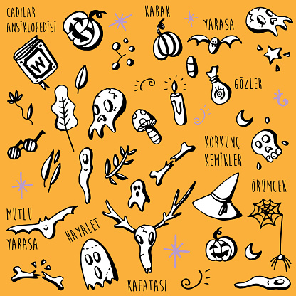Halloween Vector Set of Design Elements - Turkce