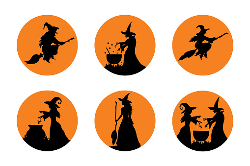 Halloween vector sticker set with witches. Decoration for Halloween party.