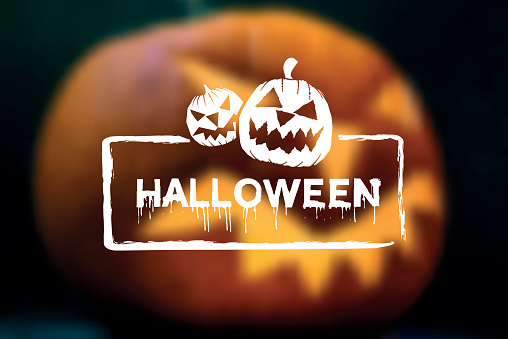 halloween vector text button on blurred vibrant  background