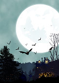 Halloween vertical background with pumpkin, haunted house, bats, night forest and full moon. Flyer or invitation template for Halloween party. Place for text