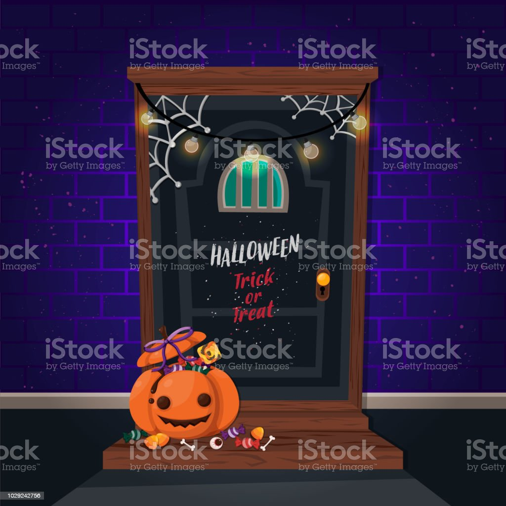 halloween vertical background with pumpkin and haunted house flyer