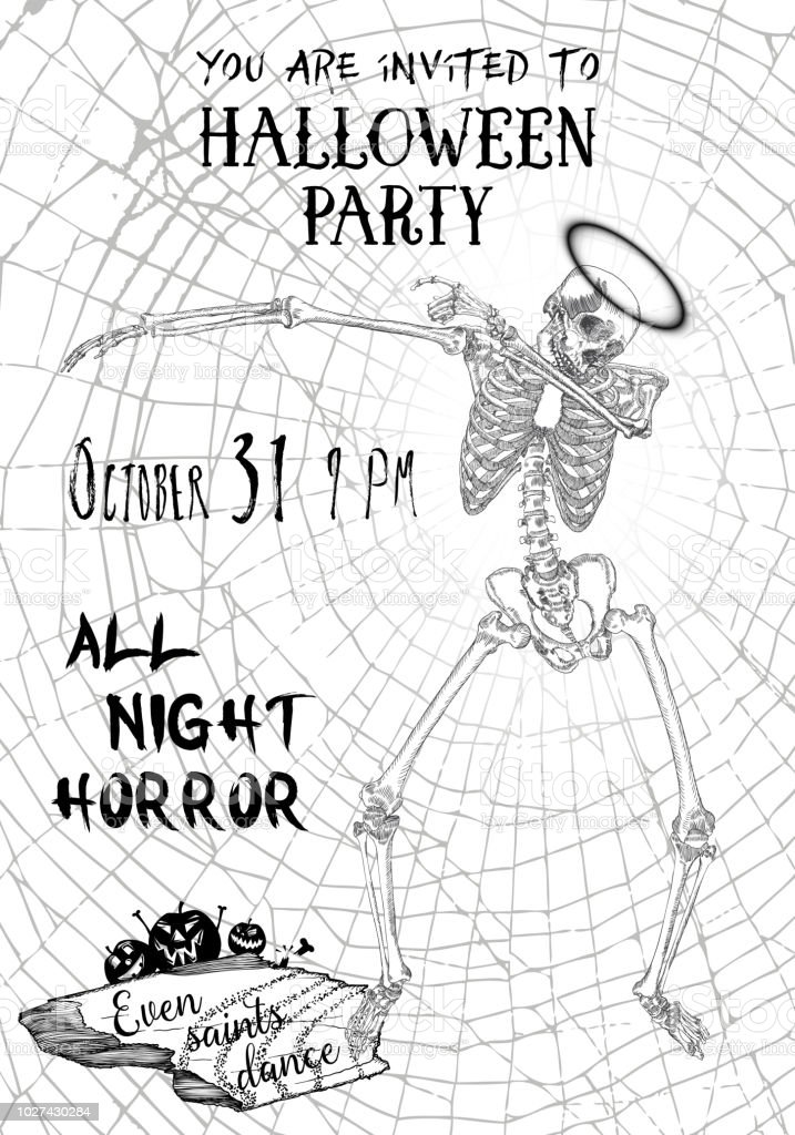 halloween vertical background with skeletons dancing dab flyer or invitation template for halloween party and