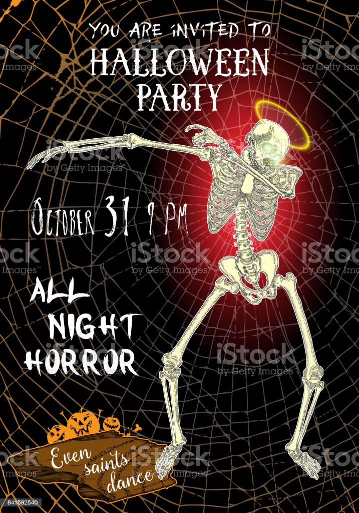 Halloween Vertical Background With Skeletons Dancing Dab Flyer Or ...
