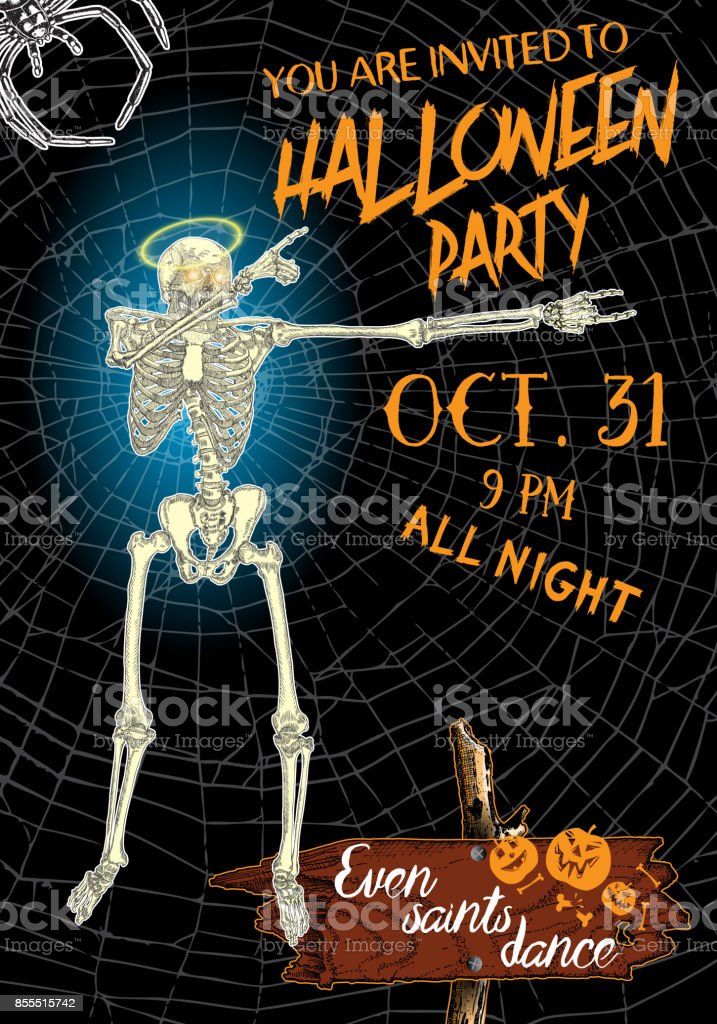 Halloween vertical background with skeletons dancing DAB. Flyer or invitation template for Halloween party and night. Handwritten calligraphy words greetings, dance of the dead all night. Vector. vector art illustration