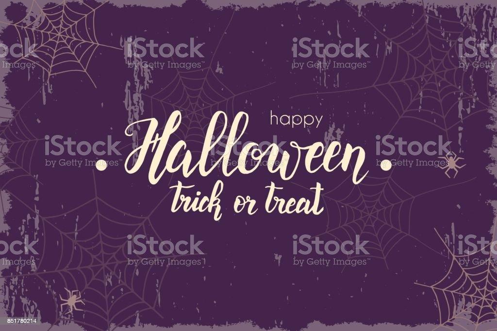 Fondo vintage Halloween con mano hecho letras, Sketch. Bandera de Halloween, flyer, folleto. Publicidad - ilustración de arte vectorial