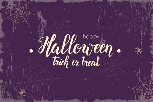 halloween vintage background with hand made lettering, sketch. halloween banner, flyer, brochure. advertising - halloween stock illustrations, clip art, cartoons, & icons