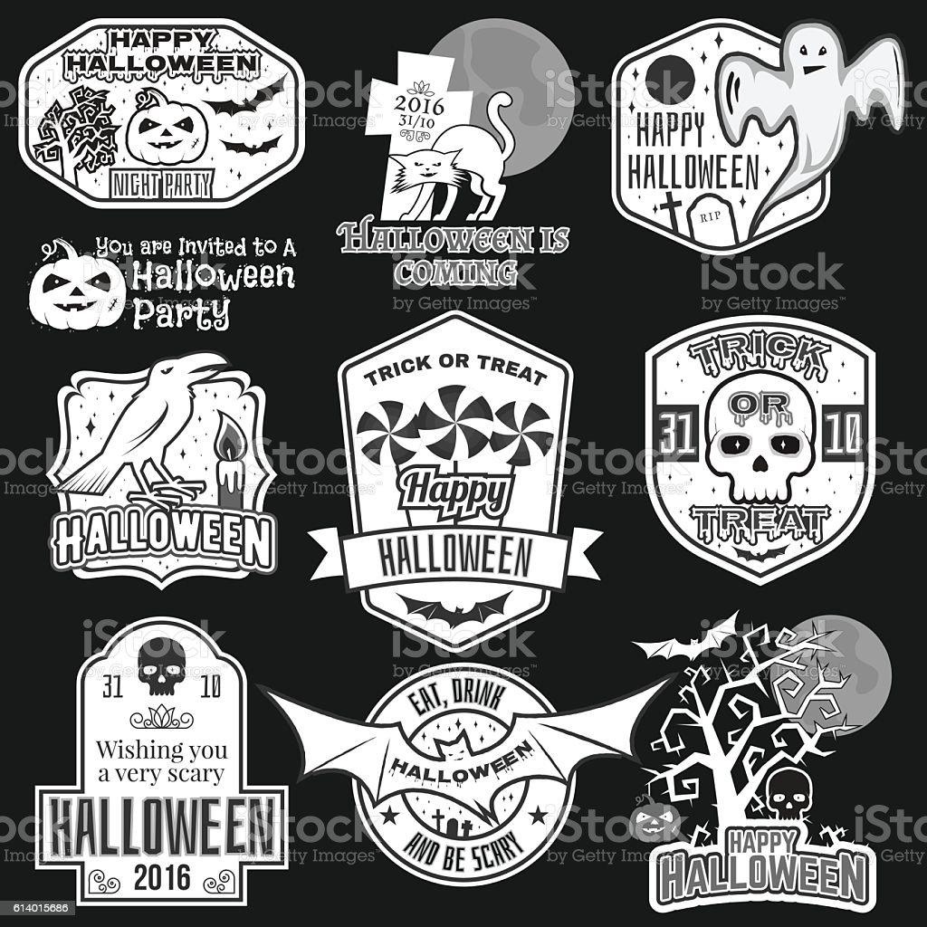 halloween vintage badges emblems or labels stock vector art & more