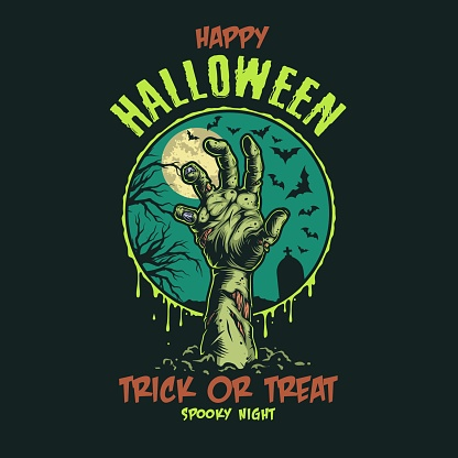 Etiqueta de color vintage de Halloween