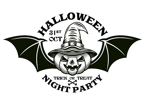 Halloween vintage emblem with pumpkin in witch hat and with bat wings. Vector monochrome illustration isolated on white