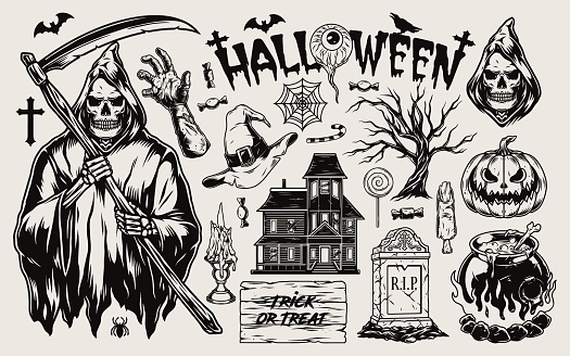 Halloween vintage monochrome composition