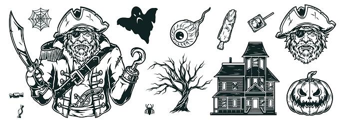 Halloween vintage monochrome elements set
