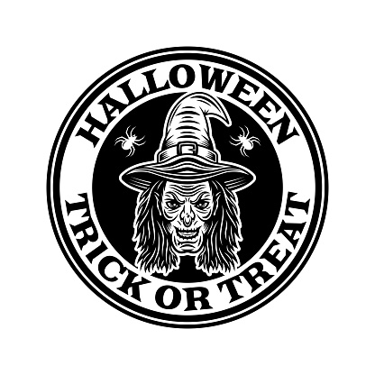 Halloween vintage round emblem, badge, label or logo with witch head in monochrome style vector isolated illustration