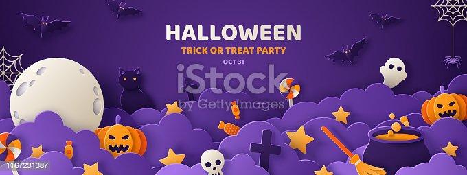 istock Halloween violet paper cut banner 1167231387