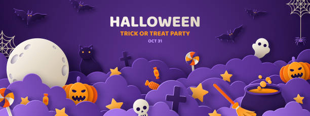 Halloween violet paper cut banner Happy Halloween banner or party invitation background with night clouds and pumpkins in paper cut style. Vector illustration. Full moon in the sky, spiders web and flying bats. Place for text ghost icon stock illustrations