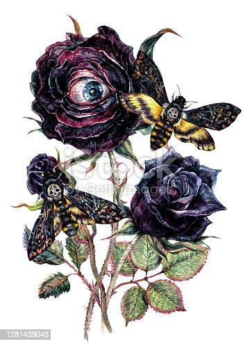 istock Halloween Watercolor Bouquet with Black Roses and Death's-Head Hawkmoth 1281439045