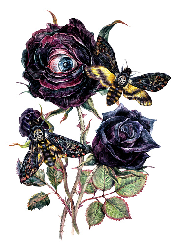 Halloween Watercolor Bouquet with Black Roses and Death's-Head Hawkmoth