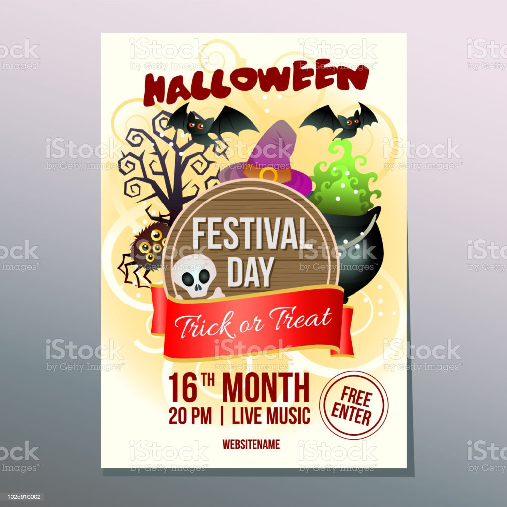 halloween week festival day poster with witch pot of magic stock