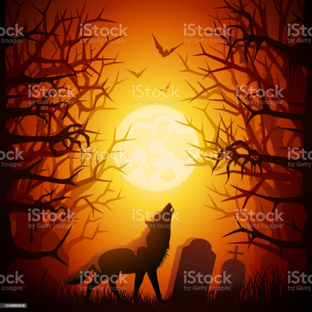 Halloween Werewolf Howling vector art illustration