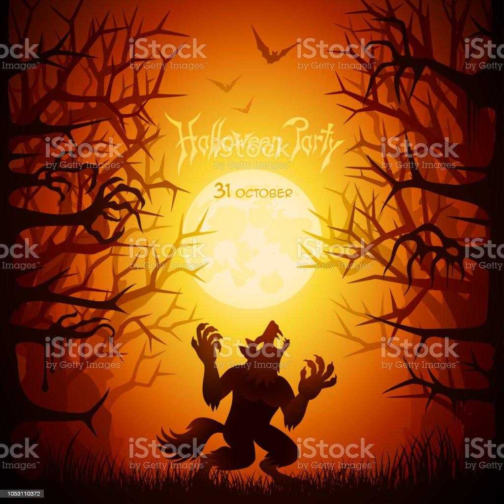 Halloween Werewolf vector art illustration