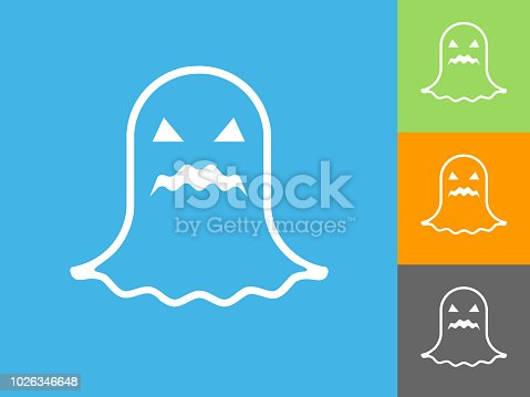 Halloween White Ghost Flat Icon on Blue Background. The icon is depicted on Blue Background. There are three more background color variations included in this file. The icon is rendered in white color and the background is blue.