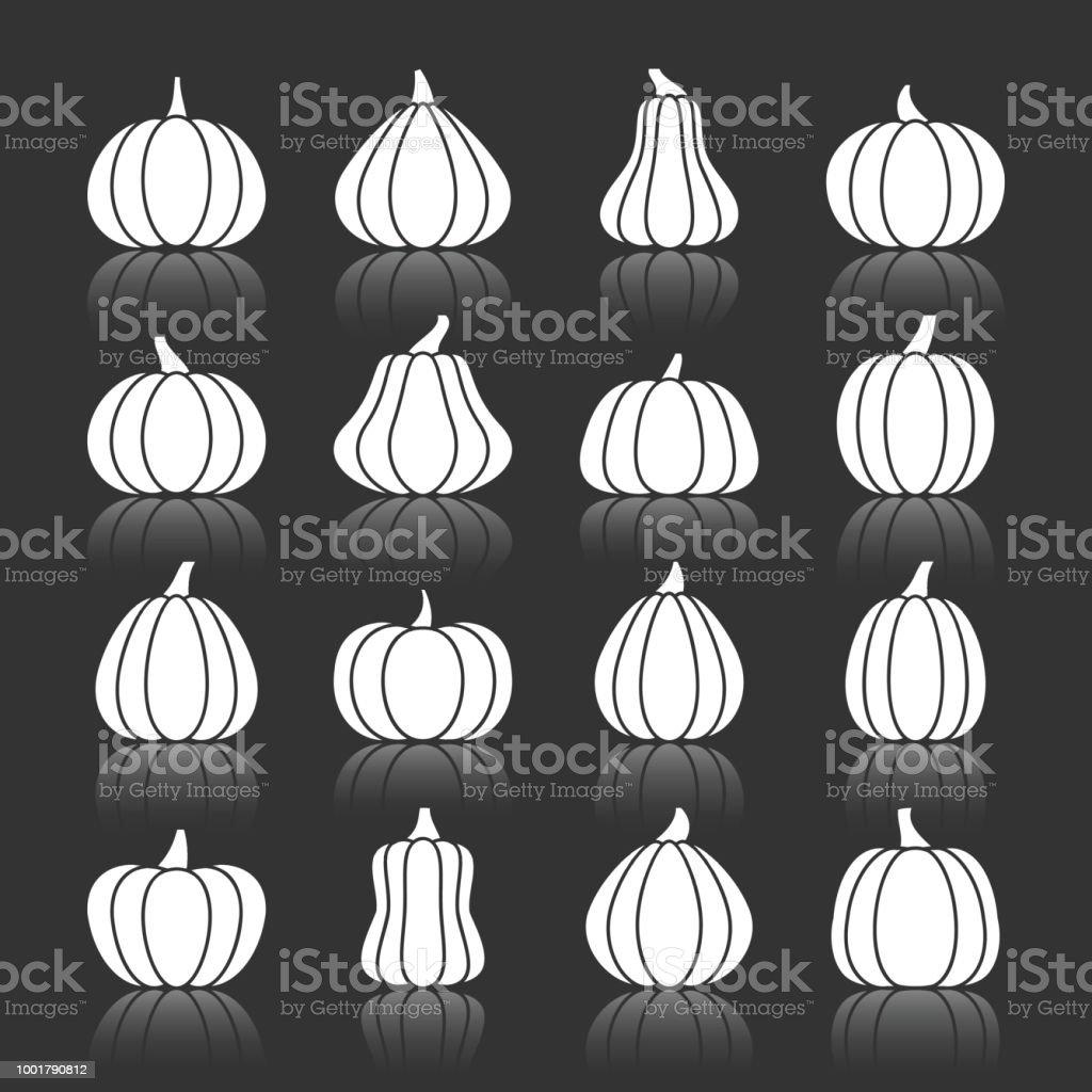 Halloween White Pumpkin With Reflection Icon Set Stock Vector Art