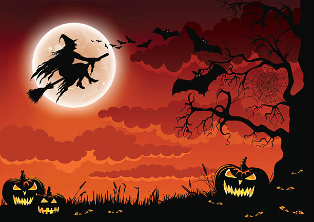 halloween wicked witch - halloween background stock illustrations