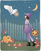 Sketch line style color vector of a Barn Owl flying down to a little girl dressed as a purple witch for Halloween. She is looking up in wonder as the white owl carries a glowing magical wand to give to her. A fence and pumpkins are in the background with a crescent moon and stars shining above. All elements on separate layers.