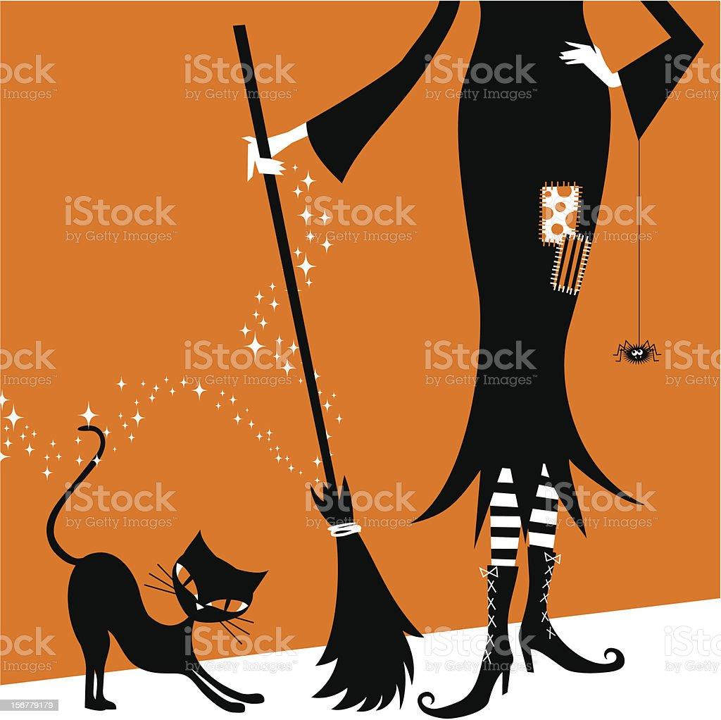 Halloween witch and black cat retro vintage illustration vector vector art illustration