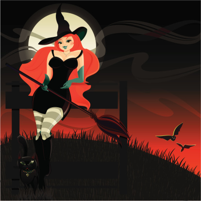 Halloween Witch and Black Cat