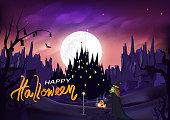 ハロウィンと魔女猫城、魔法とカボチャ、ジャック-O-ランタンのファンタジー奇跡シルエット夜のシーンへの道を歩いて、山風景抽象的な背景のベクトル図
