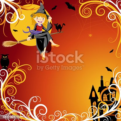 istock Halloween witch background 482299312